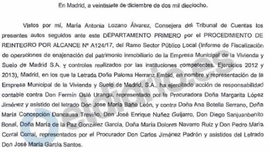 La sentencia que condena a Ana Botella y a siete altos cargos de su Gobierno