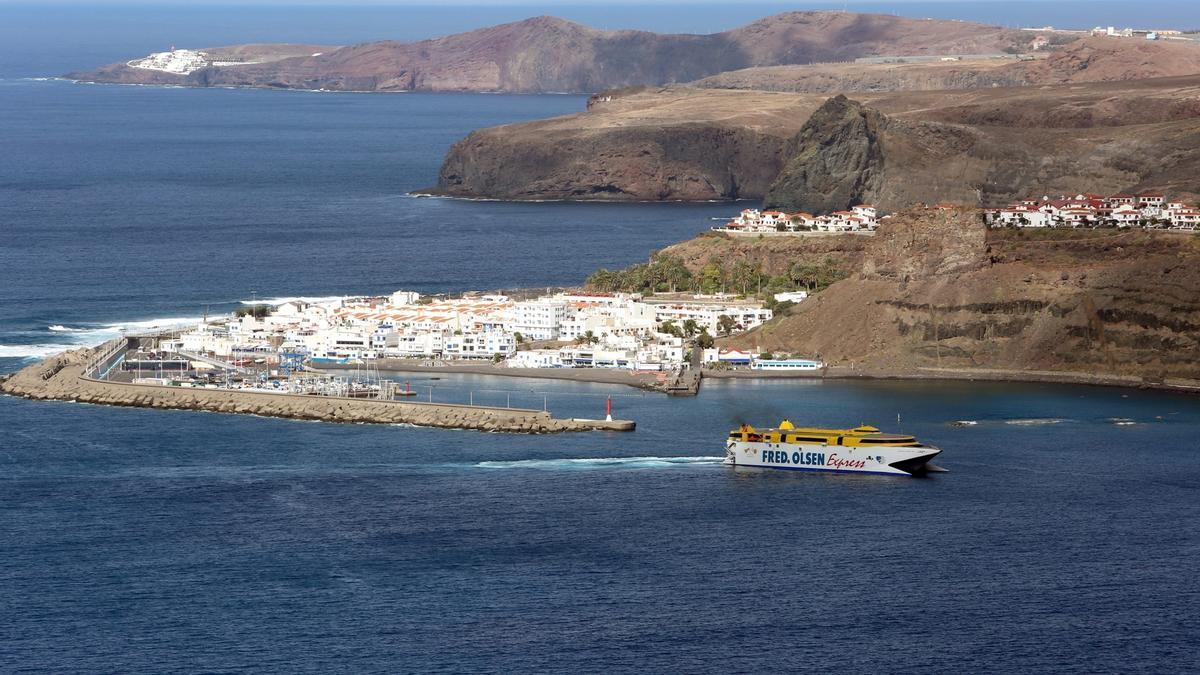 Vista del Puerto de Las Nieves, en Agaete