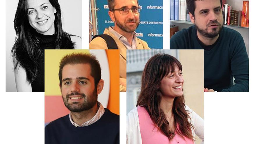 Victoria Soltero (PP), Arcadi España (PSPV), Vicent Martinez (Compromís), Carla Monleón (Podem) y Jesús Salmerón (Ciudadanos)