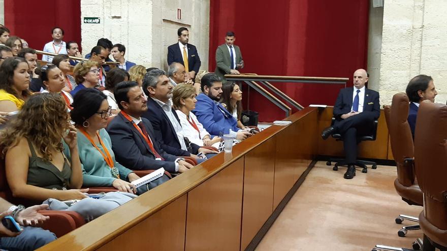 El ex diputado del PP por Huelva, Juan José Cortés, en la tribuna de los invitados del Parlamento andaluz.