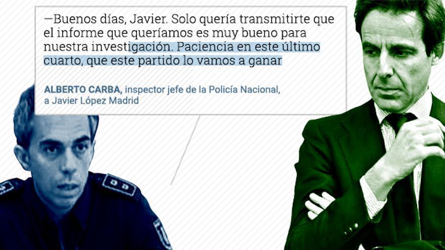 Conversación del 19 de noviembre de 2015 entre el entonces inspector jefe Alberto Carba y el empresario López Madrid