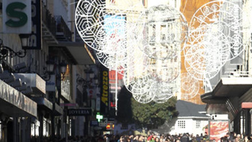 Gente en Madrid en Navidad