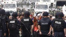 Protesta en la región china de Xinjiang.