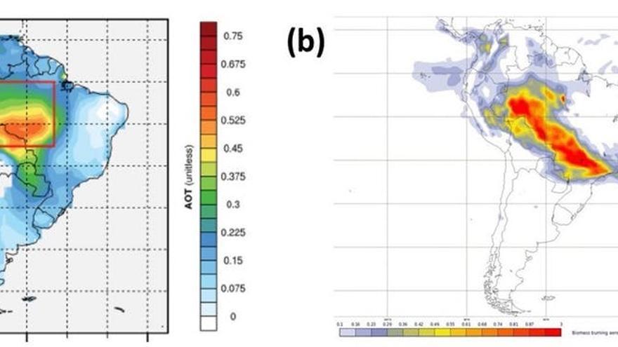 Espesor óptico de aerosoles medidos a 550 nm en América del Sur, como estimador del humo de los incendios. En a) se muestra la media para los meses más secos y con mayor número de incendios (junio, julio y agosto) para el periodo 2001-2016 y en b) para el día 20 de agosto de 2019 durante uno de los incendios más extensos registrados en la Amazonía. Puede verse la gran extensión del humo que llega a Sao Paulo, a más de 2000 km de los focos principales y que cruza el Atlántico. Si se comparan las escalas, se aprecia que los valores de espesor óptico son mayores en 2019.