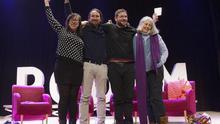 Los dirigentes de Podemos, Bail, Iglesias, Dante Fachin y Àngels Martínez Castells en un acto