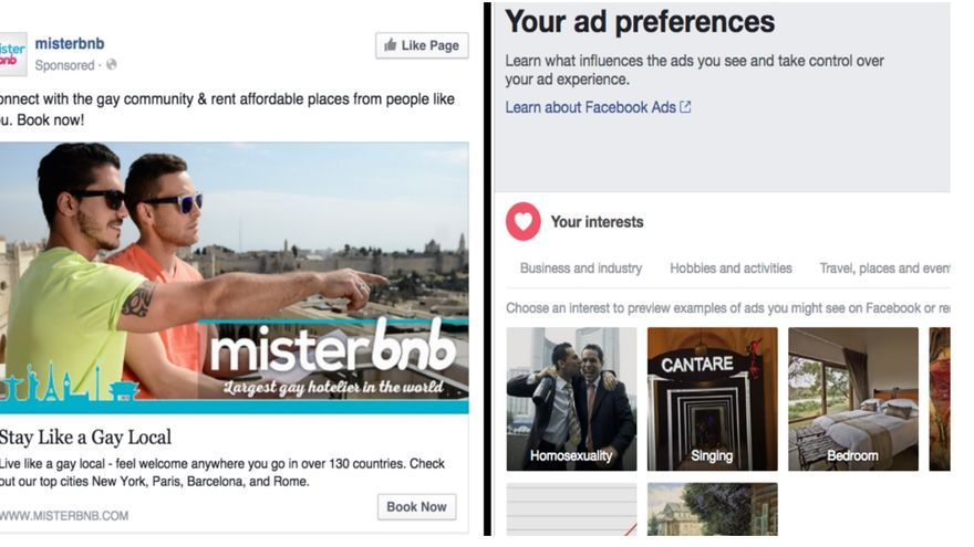 """Ejemplo de anuncio mostrado por Facebook a uno de los investigadores autores del estudio, que muestra publicidad segmentada para que la vean usuarios interesados en """"homosexualidad""""."""