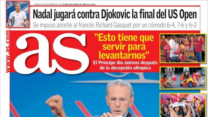'Madrid tiene sentido, el COI no lo tiene'. La portada de As tras la derrota de Madrid 2020. Fuente:Kiosko.net