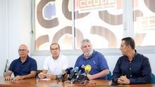 Los representantes de los sindicatos CCOO, Cemsatse y UGT, durante una rueda de prensa en la que han valorado la gestión del Gobierno de Canarias en materia sanitaria