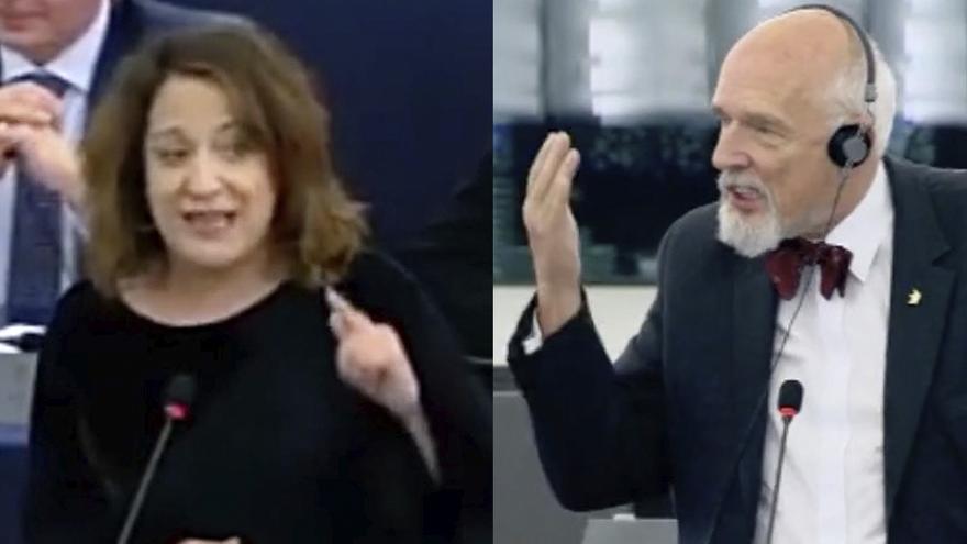 Los europarlamentarios Iratxe García y Janusz Korwin