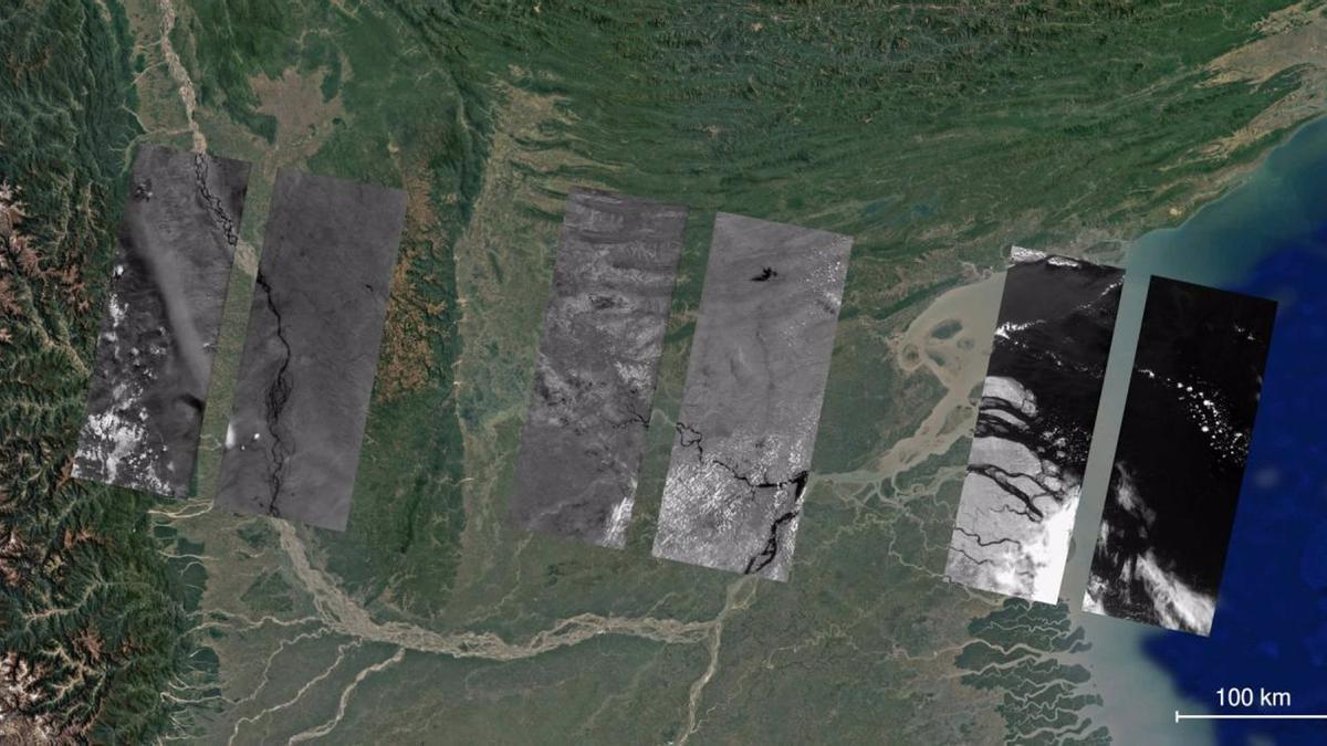 Imágenes obtenidas por la cámara infrarroja DRAGO (en escala de grises) sobre una imagen en color de Google Earth de la región del delta del Ganges.