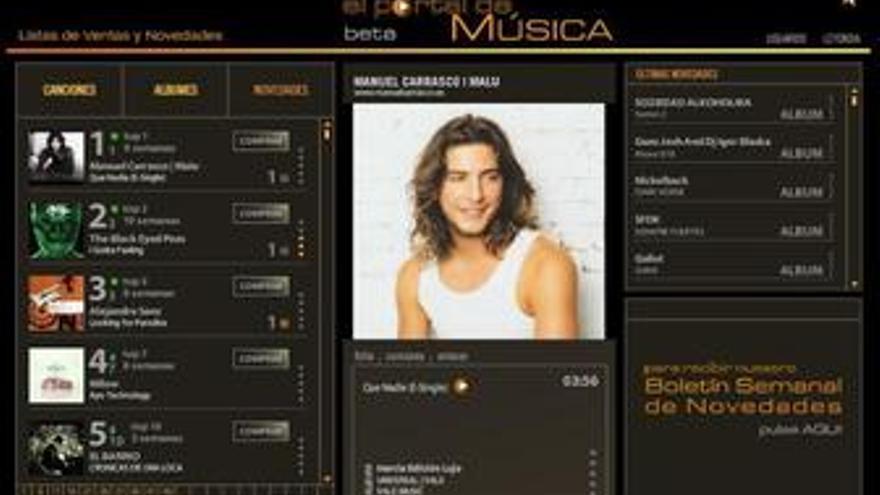 Captura de la página web www.elportaldemusica.es