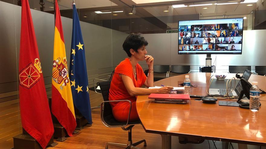 La consejera Elma Saiz durante su participación telemática en el Consejo de Política Fiscal y Financiera