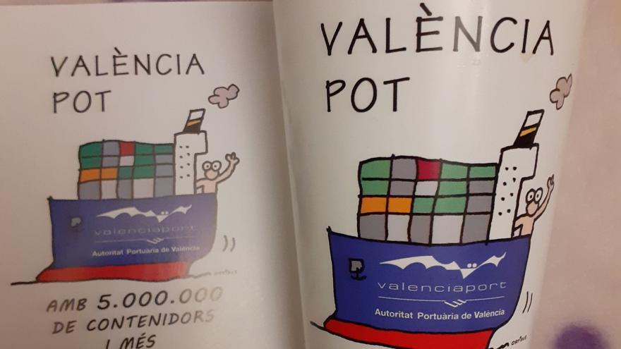 El material entregado a los niños durante su visita al puerto de Valencia.