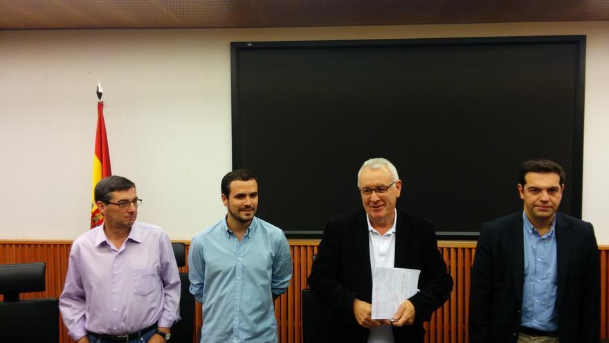 Cayo Lara, Alexis Tsipras, Alberto Garzón y José Luis Centella