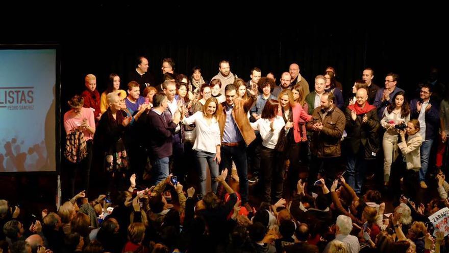 Acto de Pedro Sánchez en Zaragoza el pasado mes de febrero.