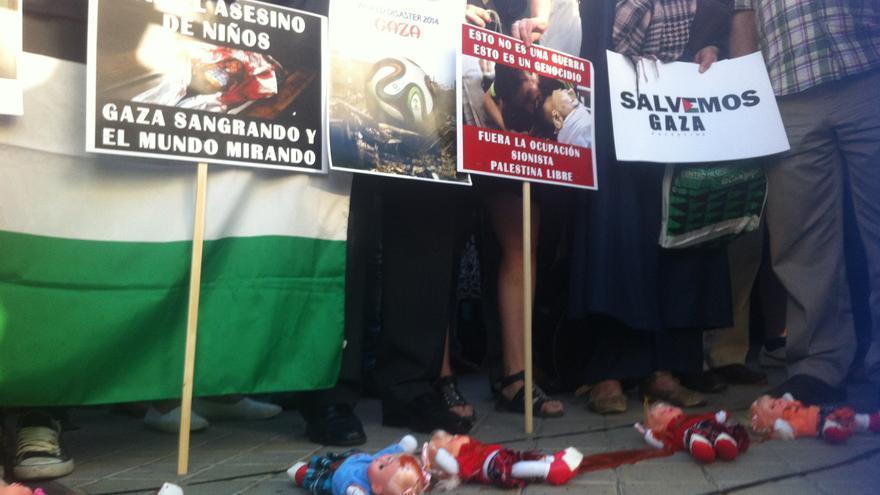 Protesta frente a la embajada de Israel en Madrid