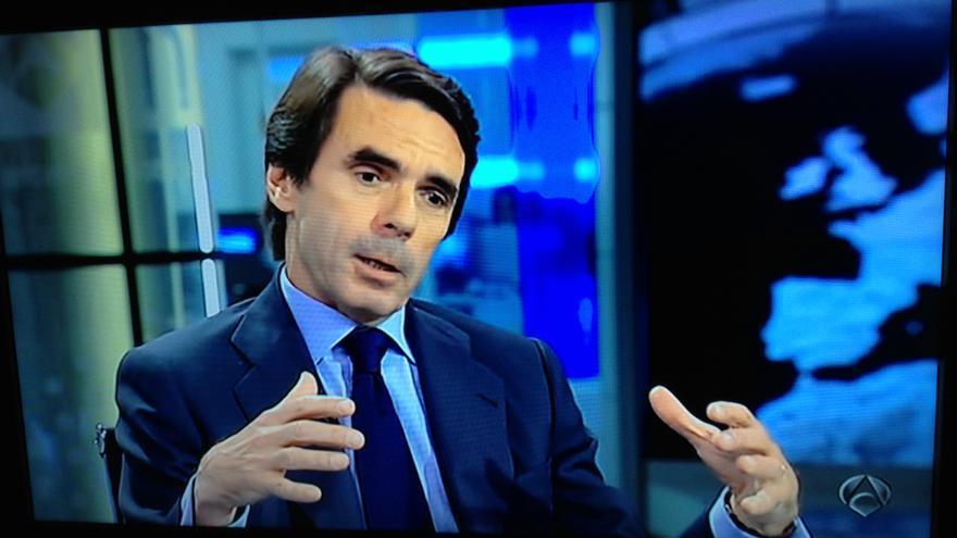 El expresidente del Gobierno, José María Aznar, durante la entrevista en Antena 3