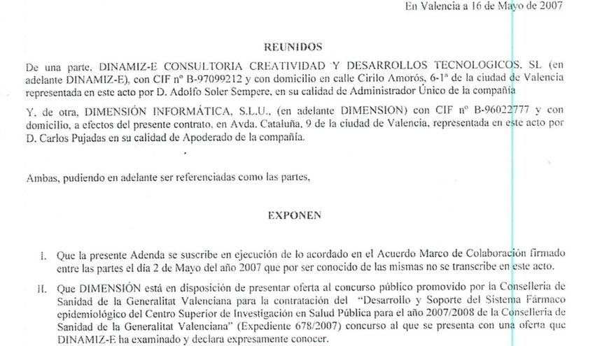 Documento privado que acredita que la empresa de Tauroni estaba tras las adjudicaciones de Blasco.