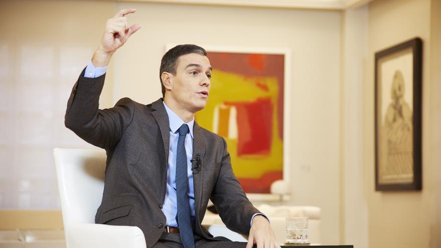Pedro Sánchez durante la entrevista en eldiario.es.