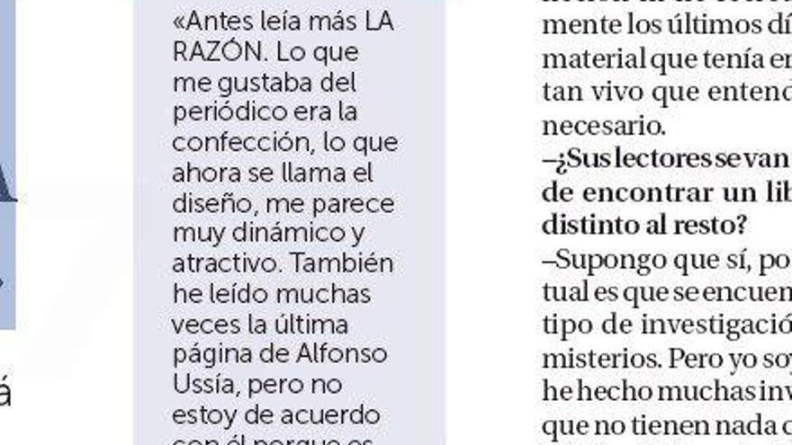 Parte de la entrevista a J.J.Benítez publicada en La Razón el 8 de septiembre