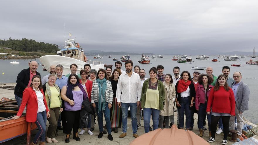 Gómez-Reino y miembros de su candidatura en las pasadas primarias de Podemos Galicia