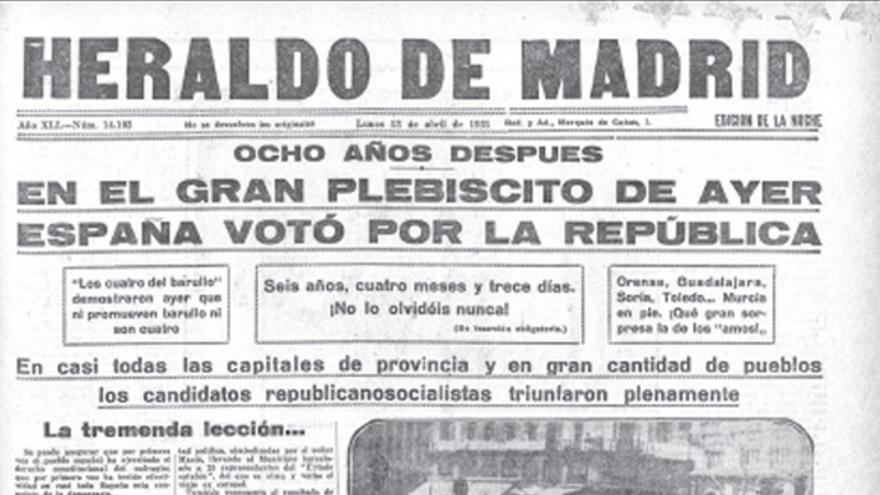 Heraldo de Madrid de día 13 de abril de 1931