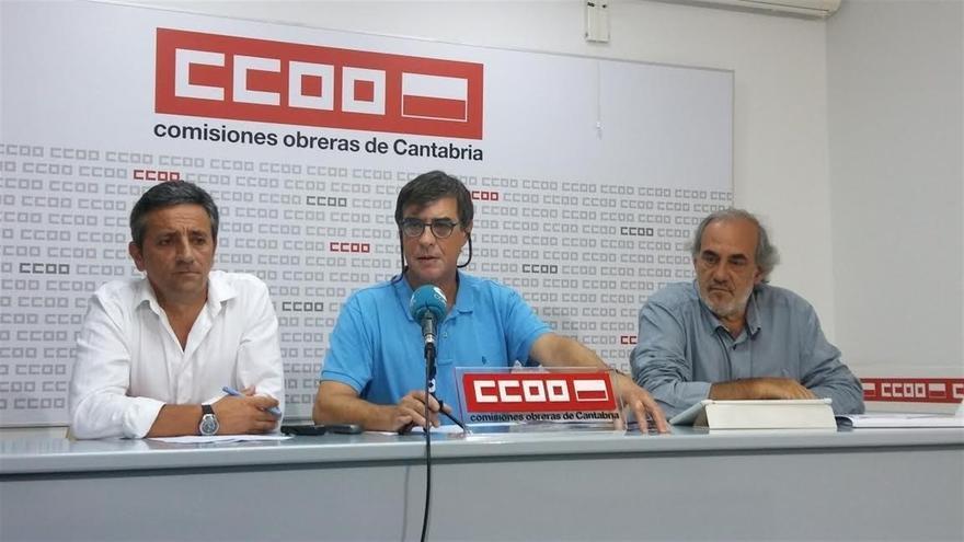 Carmelo Renedo, Francisco Javier Báscones y Raúl Gómez durante la rueda de prensa.