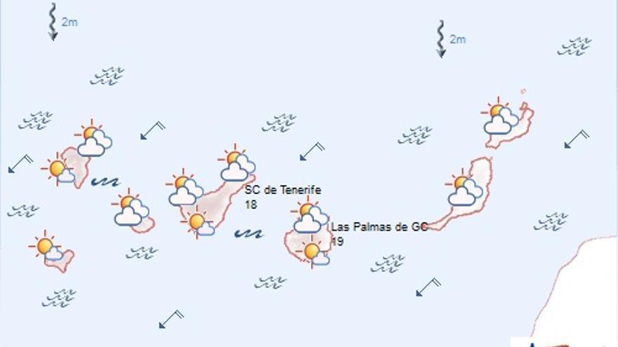 El tiempo en Canarias. Fuente: AEMET
