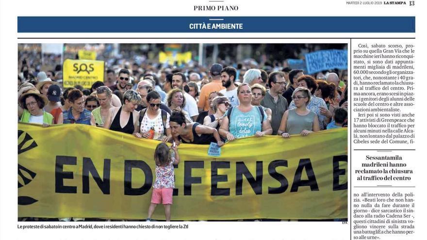 Artículo de 'La Stampa' sobre el cierre de Madrid Central.