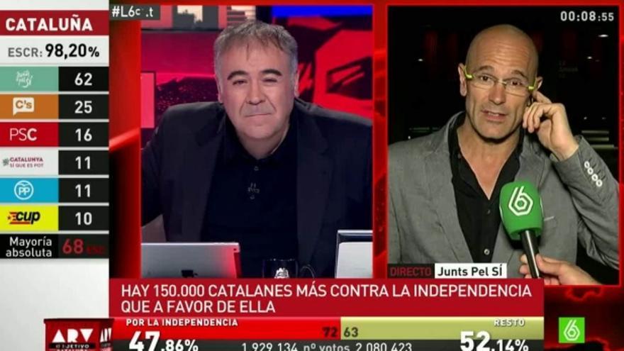 Antonio García Ferreras y Raül Romeva en un momento del programa Al Rojo Vivo (La Sexta) el 27S