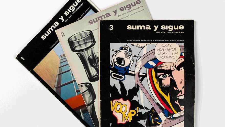 Tres ejemplares de la revista Suma y Sigue del Arte Contemporáneo, segunda etapa nº 1, 2, 3. València, 1967. Biblioteca IVAM, Donación José Huguet y Catherine Baudin.