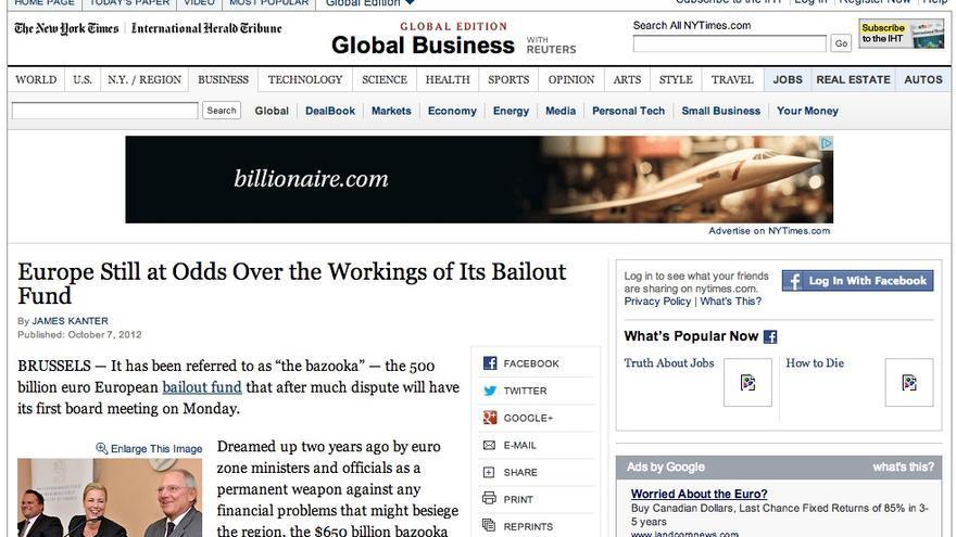 Información de The New York Times sobre el rescate europeo.