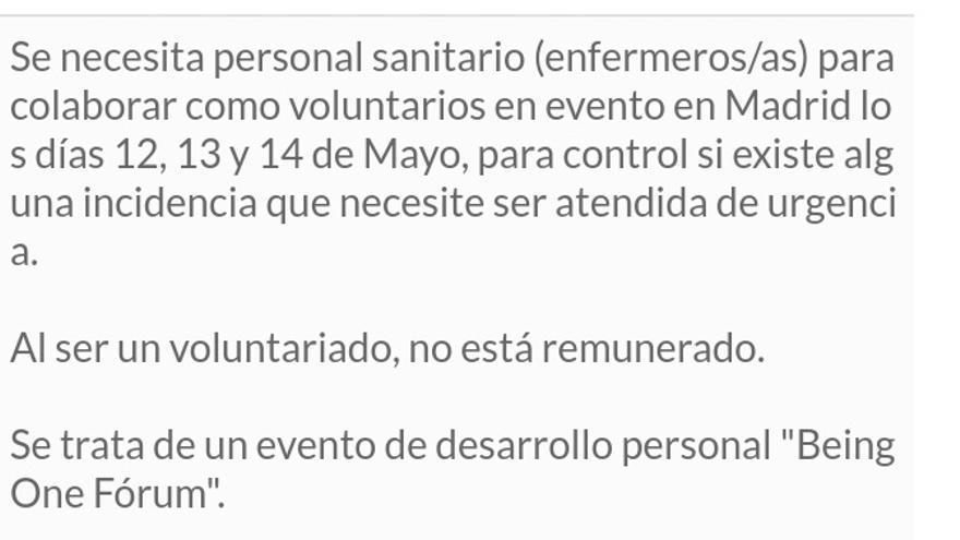 Anuncio de la oferta para personal voluntario.