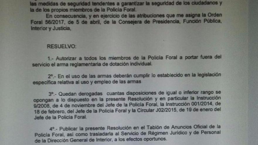 Circular remitida por Torcuato Muñoz Serrano a los agentes de la Policía Foral