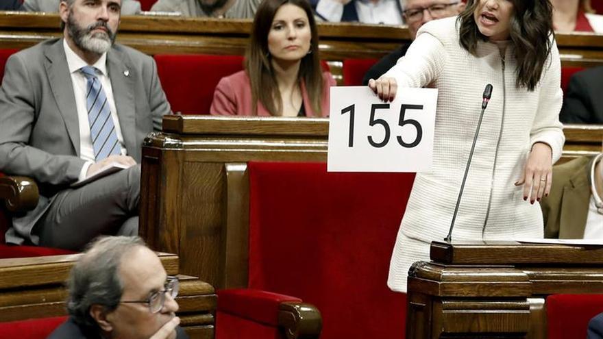 Arrimadas exige aplicar el 155 y Torra pide a los socialistas que lo eviten