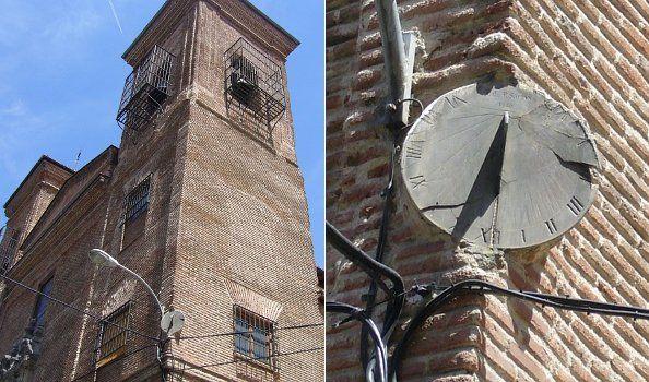 Iglesia de San Martín y detalle del reloj de sol en la esquina de su torre | Foto: A.P