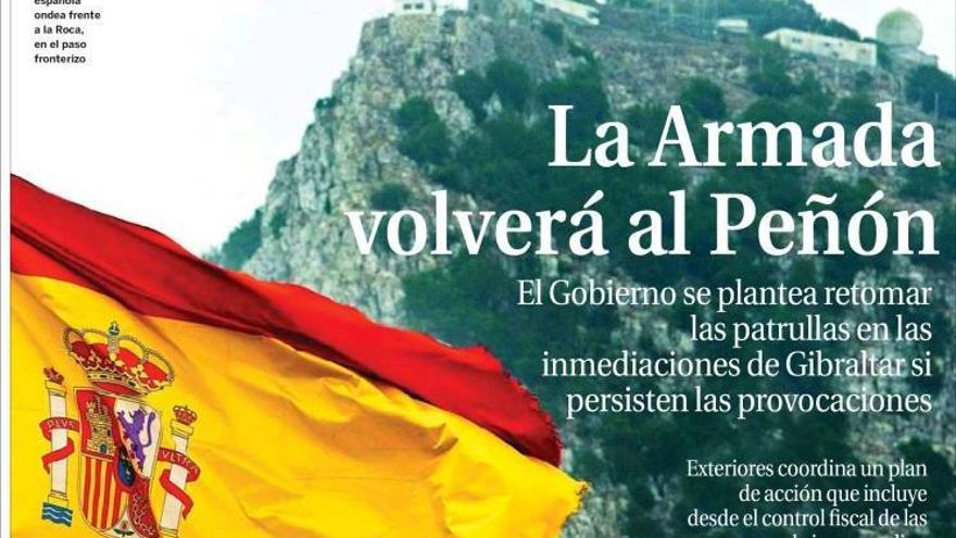 Portada de La Razón sobre Gibraltar del 4 de agosto de 2013