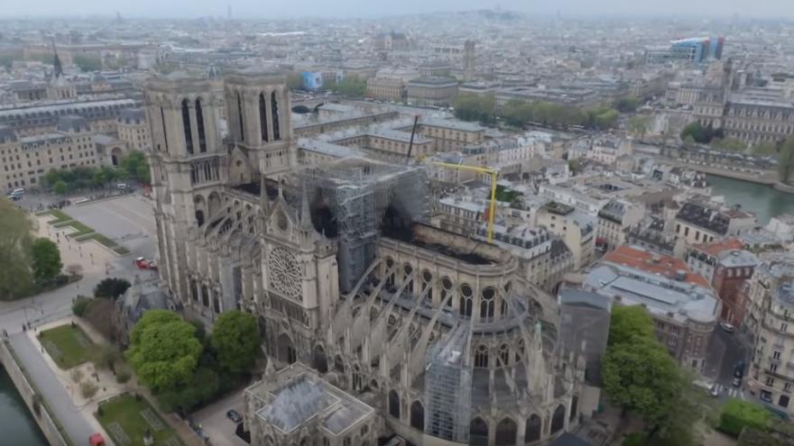 La catedral de Notre-Dame vista por un dron.