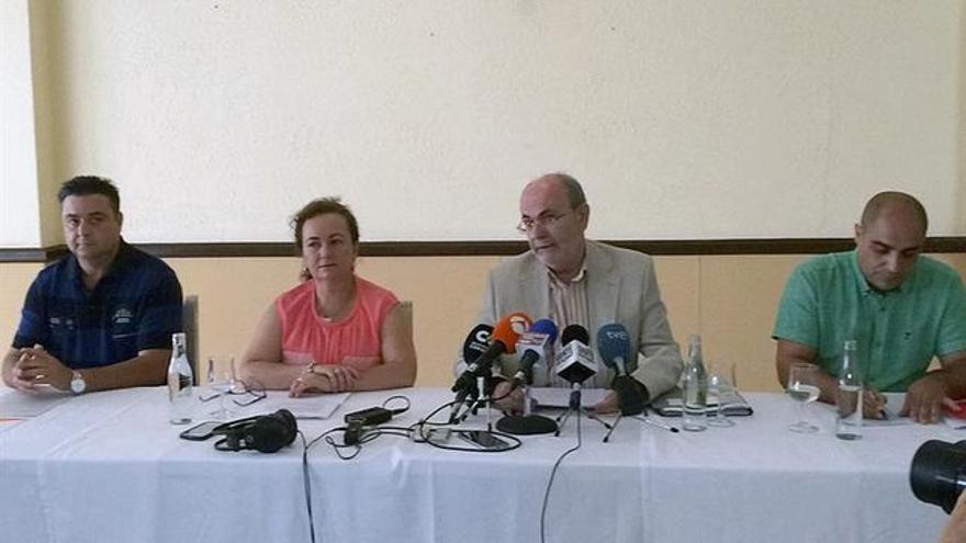 Líderes locales de Cs, PP, Somos Icodenses y PSOE, de izquierda a derecha, en una rueda de prensa reciente