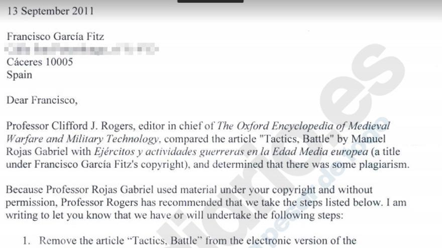 Mail enviado por la editorial Oxford University Press a Francisco García Fitz.