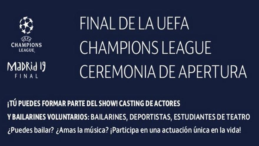 Extracto de la oferta para 200 bailarines voluntarios para actuar gratis en la final de la Champions en Madrid.