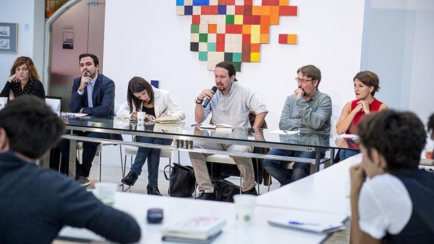 Pablo Iglesias, en la reunión con representantes de Podemos, IU, Catalunya en Comú y En Marea sobre el referéndum.