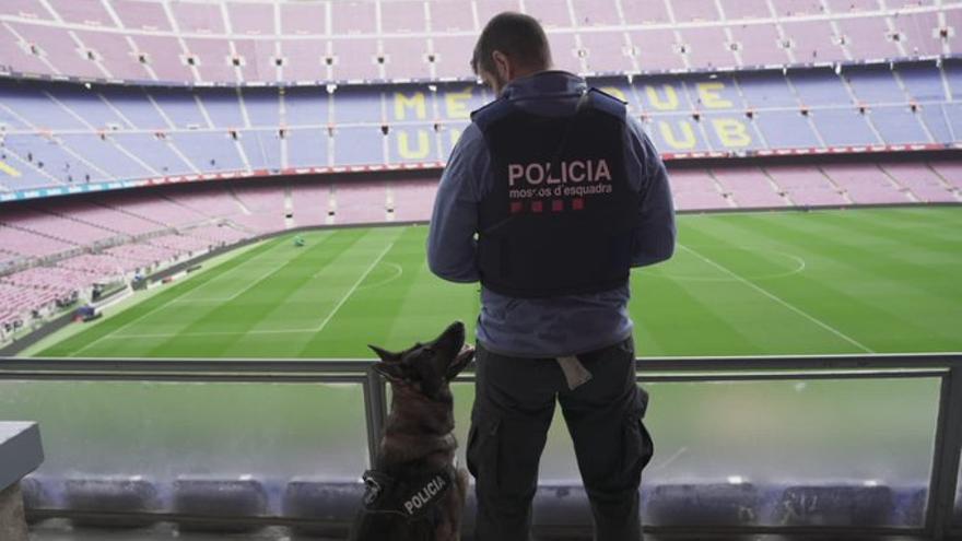 La unidad canina de los Mossos, en el Camp Nou, en una imagen difundida por la policía catalana