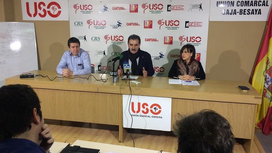 Rueda de prensa de los representantes de USO en Solvay.