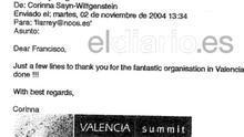 Intercambio de e-mails entre la Fundación Nóos y la amiga del rey Corinna Sayn-Wittgenstein