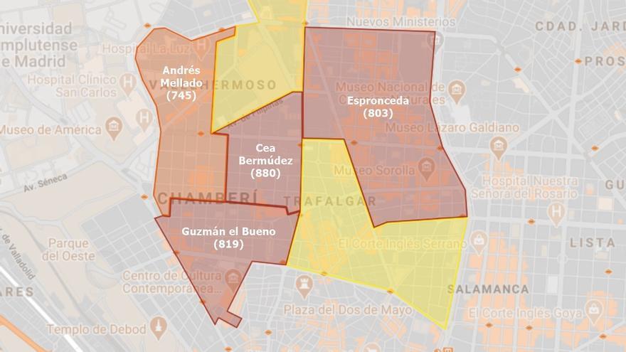 Sanidad alarga el confinamiento de Andrés Mellado, pero deja libres tres zonas de Chamberí con más casos de Covid-19