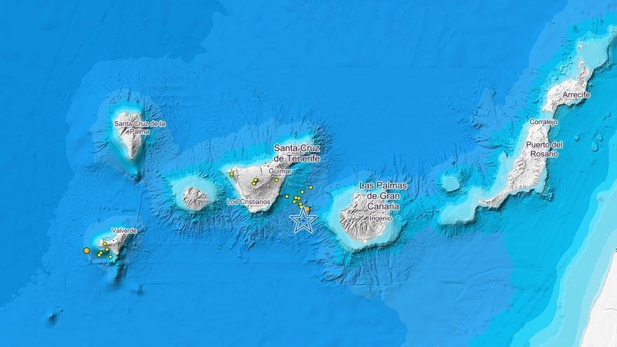 Seísmos registrados por el IGN entre Tenerife y Gran Canaria