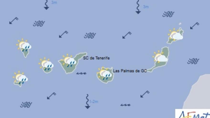 Mapa de la previsión meteorológica para el sábado 25 de marzo