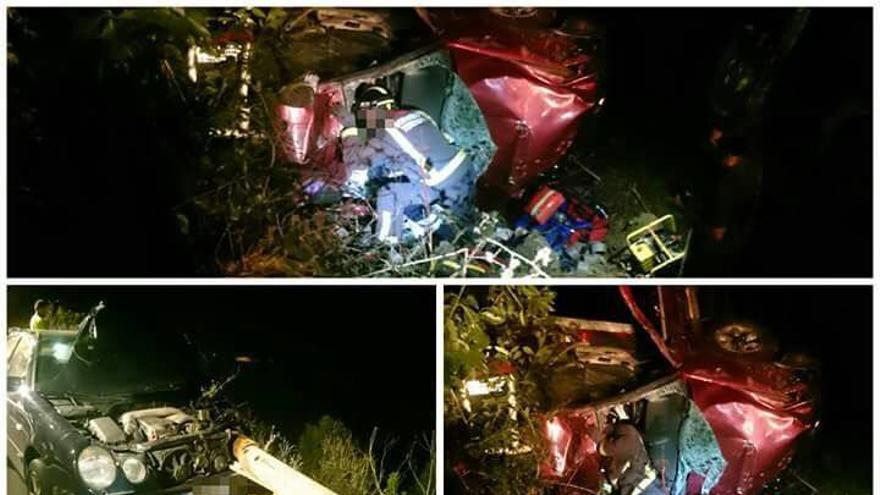 Un vehículo cae 20 metros por una ladera tras sufrir un choque en Garachico.