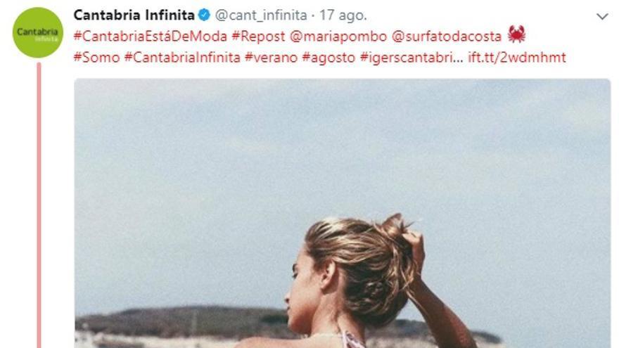 Captura del Twitter de la cuenta oficial del Gobierno de Cantabria